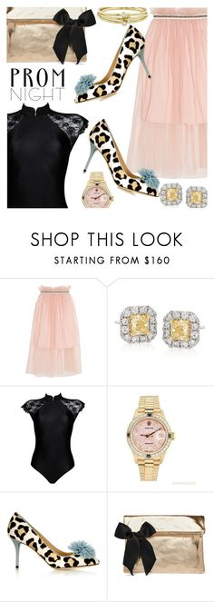 """""""Prom Night Glam"""" by stacey-lynne ❤ liked on Polyvore featuring Mother of Pearl, Gregg Ruth, Rolex, Charlotte Olympia, Clare V. and Jennifer Meyer Jewelry"""