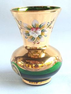 Murano Glass Small Green Vase with Hand Painted Flowers Made in Italy. Place a bid....ya never know...