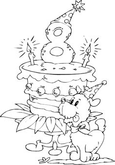 birthday cake age 8 coloring page