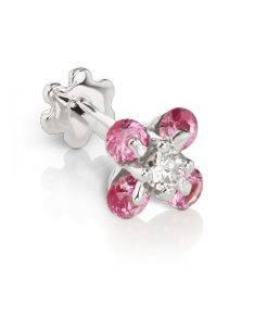 5.5mm Diamond and Pink Sapphire Clover Threaded Stud (Conch) Image #1