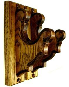 Oak Old Style Gun Rack Hangers Rifle Shotgun Wall Display