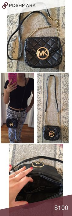 Michael Kors crossbody Authentic Michael Kors black quilted crossbody I got this bag for a vacation but find that it has sense been in my closet the bag has pockets for credit cards and smaller items and a back pocket as well 8/10 on condition Michael Kors Bags Crossbody Bags