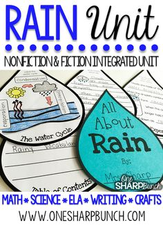 Learn all about rain this spring with over 35 math, science, ELA, writing and art activities in this 165 page PAIRED NONFICTION & FICTION INTEGRATED RAIN UNIT! These rain activities are sure to keep your kiddos engaged as you learn about rain and the wat Grade 2 Science, Middle School Science, Science Lessons, Earth Science, Science Experiments, Science Art, Teaching Activities, Art Activities, Weather Activities