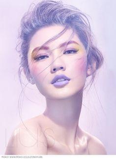 lavender look, lavender purple matte lips, pink eyebrows, pink blush, mauve & yellow eyes