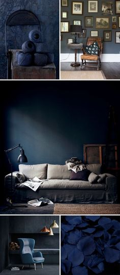 Dark living paint suggestions will bring you the best intense minutes. They can be improved, elegant and also really relaxing if you pull them off right. Today we are mosting likely to have a look at the coolest dark living rooms. Dark Blue Lounge, Wall Colors, Colours, Dark Living Rooms, Dark Walls, Dark Interiors, Blue Rooms, Creative Decor, Dark