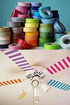 Decorate your ceiling fan with design duct tape...Great for kids room