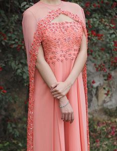 Floral Embroidered Pink Anarkali .For This Dress Mail Us contact@ladyselection.com