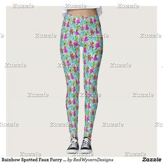 Rainbow Spotted Faux Furry Leggings