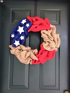 4th of July Patriotic Burlap American Flag Wreath by RandBmade