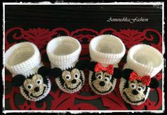 Crochet Baby booties, Mickey & Minnie shoes -baby  gift-handmade knitting by AnnoushkaFashion on Etsy