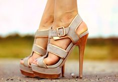 Gorgeous beige strapped heels. Latest collection 2016.