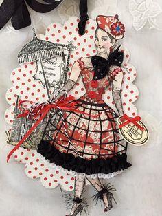 Huit Petites Filles, Art Tag, Paper Doll, Handmade, Paris, French, Tour Eiffel, Tricolour, Music,Faure, Ballet, Tea