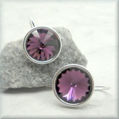 Amethyst Swarovski Crystal Rivoli Earrings - February Birthstone - Sterling Silver - Bonny Jewelry