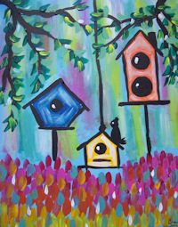 Colorful birdhouses at Whimsy Art Studio-a paint and sip. - outside decor perhaps? Kids Painting Class, Summer Painting, Easy Canvas Painting, Diy Painting, Painting & Drawing, Painting Classes, Canvas Art Projects, Watercolor Projects, Canvas Ideas