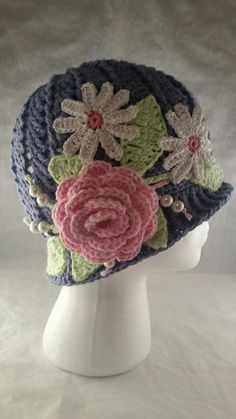 Looking for your next project? You're going to love Cloche Panama Hat with Flowers and Beads by designer ShannonsWeb.