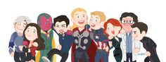 Avengers: Age of Ultron team photo: Quicksilver, Scarlet Witch, Vision, Tony Stark, Thor, Captain America, Black Widow, Bruce Banner and Hawkeye.