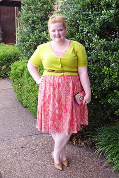 With Wonder and Whimsy: Color Play - Chartreuse and Coral. plus size, fashion, style, outfit, ootd