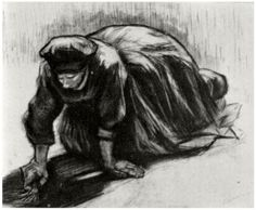 Vincent van Gogh Drawing, Black chalk Nuenen: July, 1885 Collection Constance B. and Carroll L. Cartwright New York, New York, United States of America, North America F: 1262b, JH: 840 Image Only - Van Gogh: Peasant Woman, Kneeling, Possibly Digging Up Carrots