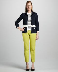 mayson two-tone jacket, nataly striped short-sleeve sweater & davis skinny pants by kate spade new york at Neiman Marcus. Striped Shorts, Skinny Pants, Playing Dress Up, Women's Fashion Dresses, Pajama Set, Neiman Marcus, Personal Style, Kate Spade, Lady