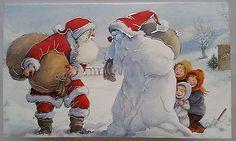 New-Alma-Christmas-New-Year-double-card-Santa-Claus-snowman-w-pipe-children