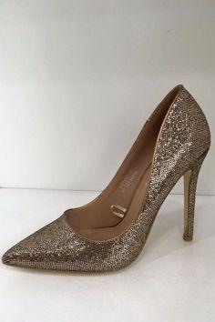 Linda Gold Sequin Heels