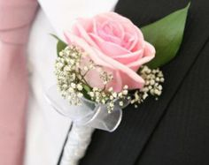Items similar to Pink and Ivory Rose Boutonnière on Etsy