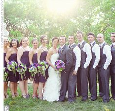 bridesmaids and groomsmen colours are amazing! Groomsmen Attire Purple, Groomsmen Colours, Bridesmaids And Groomsmen, Groom And Groomsmen, Summer Wedding Colors, Purple Wedding, Trendy Wedding, Summer Colors, Wedding Flowers