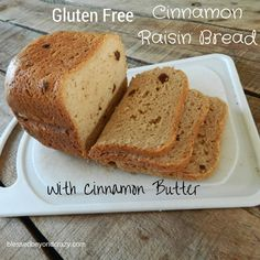 Gluten Free Cinnamon Raisin Bread with Cinnamon Butter. Amazingly Delicious! Made in a bread machine this gluten free bread couldn't be easier! Top with cinnamon butter and you'll completely forget you're gluten free!