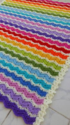 Crocheted rainbow ajour ripple blanket by handmadebyria on Etsy Crochet Bedspread, Baby Blanket Crochet, Print Patterns, Crochet Patterns, Snuggle Blanket, Yarn Crafts, Rainbow Colors, Crochet Projects, Crocheting