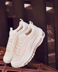 Our most stylish shoe of the month award goes to this new Nike Air Max 97 OG sho. - - Our most stylish shoe of the month award goes to this new Nike Air Max 97 OG shoe in pink and white. It ranks as our favourite Nike Air Max 97 OG shoe. White Nike Shoes, Nike Air Shoes, White Nikes, Cool Nike Shoes, Adidas Shoes, Trendy Shoes, Casual Shoes, Cute Teen Shoes, Shoes For Teens