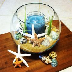 Easy to make. Beach themed candle centerpiece. So cute!!