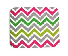 Mouse Pad mousepad / Mat - Rectangle or round - Chevron Candy - Pink, Gray, White, Green, and Lime