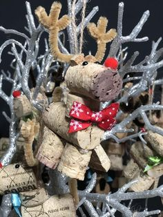 Your place to buy and sell all things handmade Country Christmas Crafts, Christmas Wreaths, Christmas Decorations, Christmas Ornaments, Wine Cork Ornaments, Reindeer Ornaments, Craft Supplies, Crafts For Kids, Wine Corks