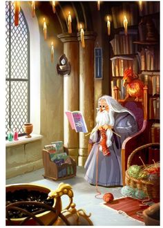 """""""...of all the teachers' offices Harry had visited so far this year, Dumbledore's was by far the most interesting... It was a large and beautiful circular room, full of funny little noises. A number of curious silver instruments stood on spindle-legged tables, whirring and emitting little puffs of smoke..."""" //artist unknown"""