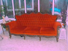 Victorian American Carved Red Suit of Furniture 3 Seater & 2 Single Seats - Victorian American. Red Suit, Selling Furniture, Antiques For Sale, Love Seat, Victorian, The Incredibles, Couch, Interiors, American