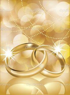 Wedding Illustrations   Golden wedding rings, vector illustration - Stock Illustration