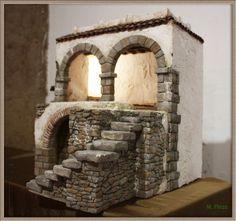 Nativity House, Nativity Crafts, Navity Scene, Hirst Arts, Christmas Manger, Adobe House, Arched Doors, Stone Texture, Fairy Houses