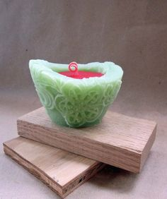 Beeswax Palmwax Candle Spring Green Candle by mahoganybludesign Green Candles, Spring Green, Serving Bowls, Tableware, Dinnerware, Tablewares, Dishes, Place Settings, Mixing Bowls