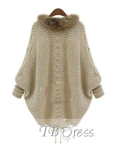 New Frauen Mantel Kunstpelzkragen Strickjacke Thick Heavy Poncho Jumper Sweater Handgestrickte Pullover, Batwing Cardigan, Cable Knit Cardigan, Cardigan Sweaters For Women, Sweater Coats, Batwing Sleeve, Cardigans For Women, Sweater Cardigan, Loose Sweater