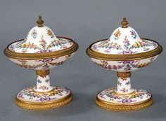 Pair French Sevres Porcelain Hand Painted Compotes (jam pots) Late 19th Ct