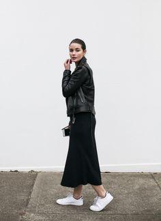 The Midi Dress Tome Leather Jacket Nike Sneakers Street Style Sydney Fashion Week HarperandHarley Look Fashion, Korean Fashion, Fashion Outfits, Fashion Tips, Fashion Trends, Fashion Hacks, Australian Fashion, Minimal Fashion, Minimal Chic