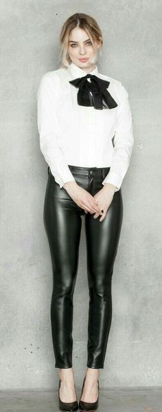 Classy sexy black leather pants outfit