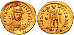 "Theodosius II, son of Arcadius, became a ""junior"" Augustus for the East as a baby in 402, then ""senior"" Augustus at age 7 after his father's death in 408. His 15-year-old sister, Pulcheria, proclaimed herself regent over her brother, then thirteen years of age, and made herself Augusta and Empress of the Eastern Roman Empire. Even after Theodosius II came of age, she exerted a strong influence. He died of a riding accident in 450.      Photo courtesy of Classical Numismatic Group, Inc."
