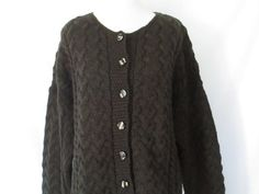 Merino Wool Cardigan Oversize Sweater Grunge by ChinaCatVintage