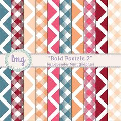 Pastel Digital Scrapbook Papers  Bold by LavenderMintGraphics