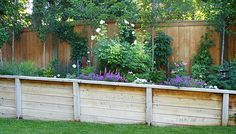 Timber retaining walls are pressure treated and tied to the hillside for a natural looking retaining wall.