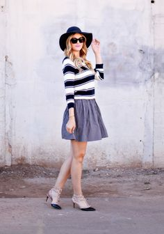 cute hat with feminine outfit