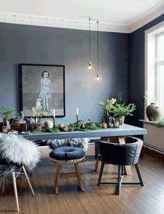 Christmas 2015 / Inspirations # 10 / In Oslo, a natural table / Oslo, Living Room Decor, Dining Room, Dining Table, Rue Verte, Christmas 2015, Layout, Furniture, Inspiration