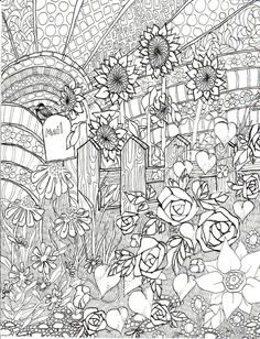 Late Summer Garden coloring page ink illustration Life by lilahjb, $2.50
