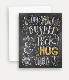 I Love You A Bushel & A Peck I Love You Card Cute door LilyandVal